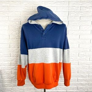 Pro Spirit Blue Grey Orange Color Block Sweatshirt